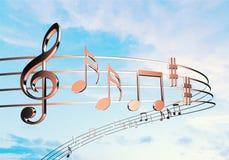 Notas de la música sobre fondo imagen de archivo libre de regalías