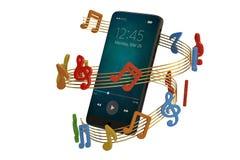 Notas de la música y concepto del audio del smartphone ilustración 3D ilustración del vector