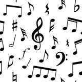 Notas de la música y diseño inconsútil del modelo de los símbolos Color de fondo completamente editable del terraplén y  stock de ilustración