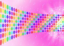 Notas de la música y puntos de los colores del arco iris en fondo rosado borroso libre illustration