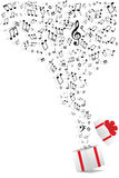Notas de la música y rectángulo de regalo Imagen de archivo