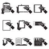 Notas de la mano fijadas Imágenes de archivo libres de regalías