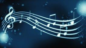 Notas de la melodía del fondo sobre color azul stock de ilustración