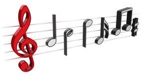 notas de la música 3D Fotografía de archivo libre de regalías