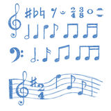 Notas de la música fijadas Colección de símbolos de música del bosquejo Imagen de archivo libre de regalías