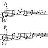 Notas de la música sobre bastón Fotos de archivo libres de regalías