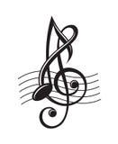 Notas de la música sobre bastón Imagen de archivo libre de regalías