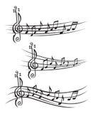Notas de la música sobre bastón Imagen de archivo