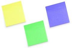 Notas de la nota de la etiqueta engomada aisladas Fotos de archivo libres de regalías
