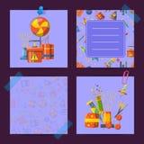 Notas de la tarjeta del vector fijadas con pirotecnia Imagen de archivo libre de regalías