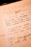 Notas de lengua italiana Foto de archivo libre de regalías