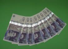 Notas de 20 libras, Reino Unido em Londres Fotos de Stock Royalty Free