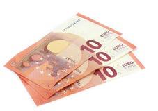 10 notas de los euros Imágenes de archivo libres de regalías