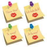 Notas de papel con el contacto y te amo palabras del empuje Fotografía de archivo