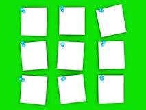 Notas de papel fixadas Fotografia de Stock Royalty Free