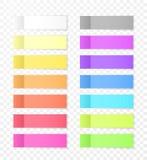 Notas de papel pegajosas con efecto de sombra Etiquetas engomadas en blanco de la nota de la nota del color para fijar aislada en ilustración del vector