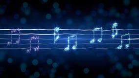 Notas de plata sobre la partitura, ejemplo de la sonata del claro de luna, fondo del Karaoke ilustración del vector