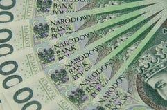 100 notas de PLN espalhadas como um fã Imagens de Stock