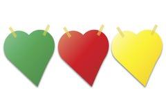 Notas de post-it en la forma del corazón Fotografía de archivo
