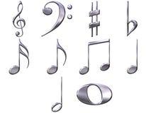 notas de prata da música 3D Imagens de Stock Royalty Free