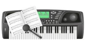 Notas de Synth e ilustra??o do vetor do microfone Fotografia de Stock