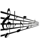 Notas del clef agudo y de la música Imagen de archivo libre de regalías