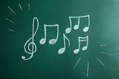 Notas del clef agudo y de la música imagen de archivo