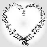 Notas del corazón de la música Fotos de archivo libres de regalías