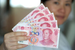Notas del dinero en circulación. RMB Fotografía de archivo libre de regalías