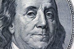 Notas del dinero en circulación del dólar. Detalle. Franklin Imagen de archivo
