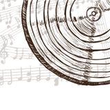 Notas del expediente y de la música de vinilo Foto de archivo libre de regalías
