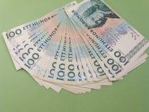 100 notas del SEK de la corona sueca, moneda del SE de Suecia Imagen de archivo