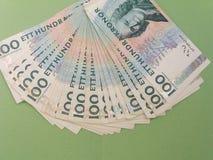 100 notas del SEK de la corona sueca, moneda del SE de Suecia Fotografía de archivo libre de regalías