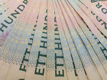 100 notas del SEK de la corona sueca, moneda del SE de Suecia Imágenes de archivo libres de regalías