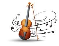 Notas del violín y de la música en fondo ilustración del vector