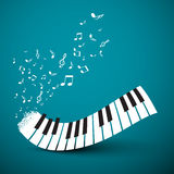 Notas del vuelo con el teclado de piano abstracto Fotografía de archivo libre de regalías