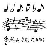 Notas dibujadas mano de la música del vector ilustración del vector