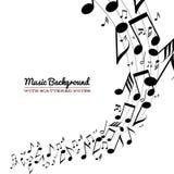 Notas dispersadas desarrumado da música na pauta musical Fotos de Stock