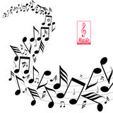 Notas dispersadas desarrumado da música na pauta musical Imagem de Stock Royalty Free