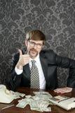 Notas do dólar do contabilista do lerdo do homem de negócios Imagem de Stock