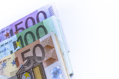 Notas do dinheiro do Euro na carteira no fundo branco Foto de Stock Royalty Free