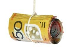 Notas do dinheiro na corda Foto de Stock Royalty Free