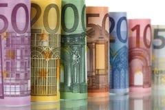 Notas do Euro com reflexão Imagens de Stock