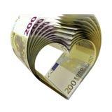 200 notas do Euro como uma forma do coração ilustração do vetor
