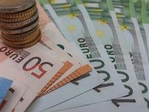 Notas do Euro e moedas, União Europeia Foto de Stock
