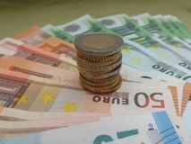 Notas do Euro e moedas, União Europeia Imagem de Stock Royalty Free