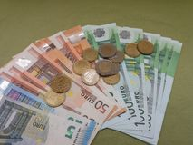 Notas do Euro e moedas, União Europeia Imagens de Stock Royalty Free