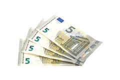 Notas do Euro em um fundo branco liso Fotos de Stock Royalty Free