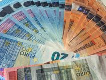 Notas do Euro, fundo da União Europeia Foto de Stock