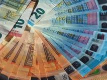 Notas do Euro, fundo da União Europeia Imagens de Stock Royalty Free